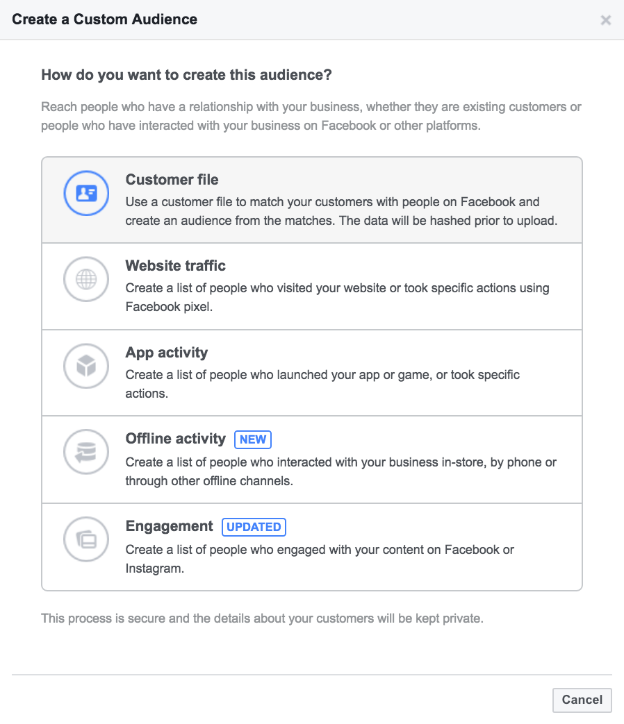 Facebook email - CRM retargeting