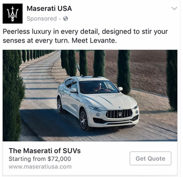 The Maserati Facebook ad