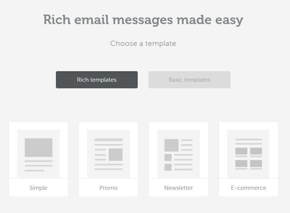 Four rich and basic email templates