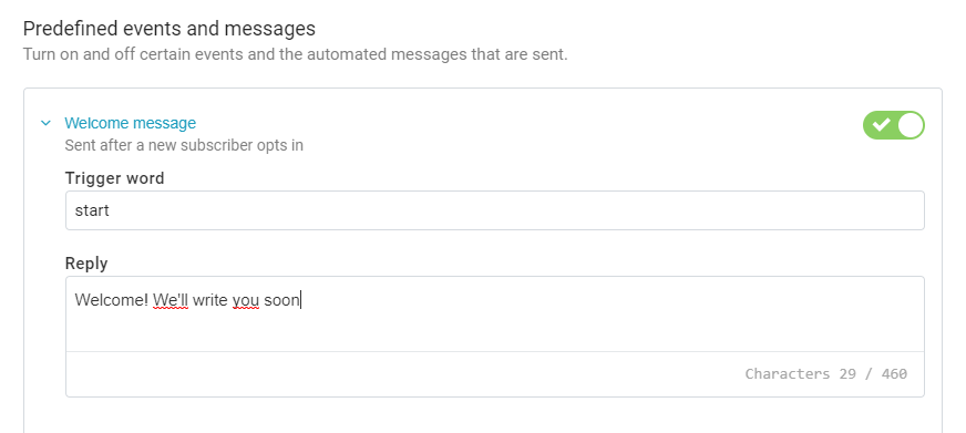 How to create a predefined messages
