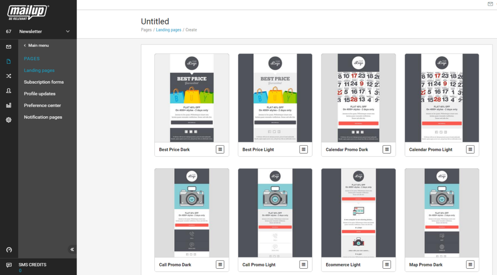 The MailUp landing page editor