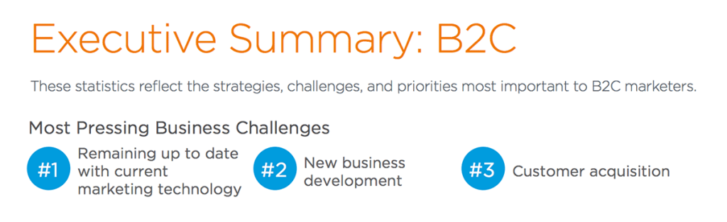 remaining up to date with current marketing technology is the #1 most pressing business challenge for B2C marketers according to Salesforce's 2015 State of Marketing Report