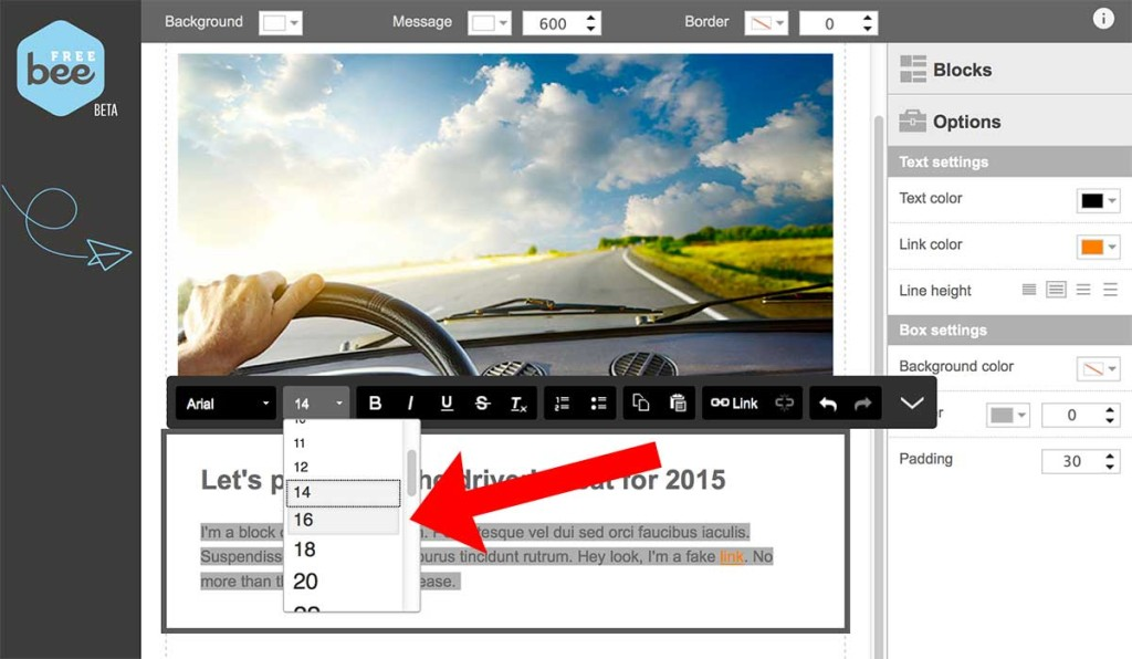 how to adjust text size in BeeFree email editor