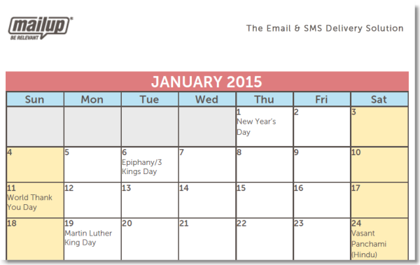A 2015 editorial calendar template for savvy email marketers for Color coded calendar template