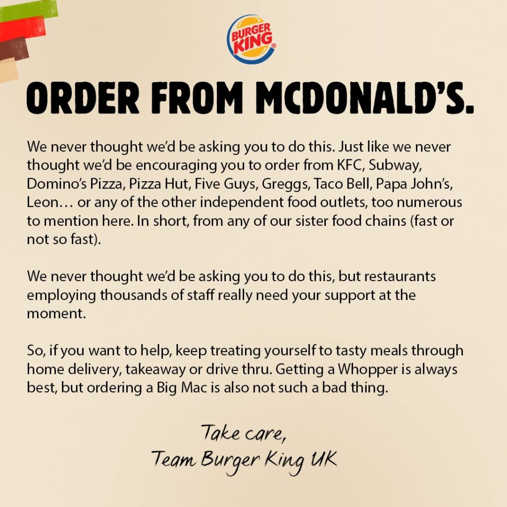 order from mcdonald's bk campaign