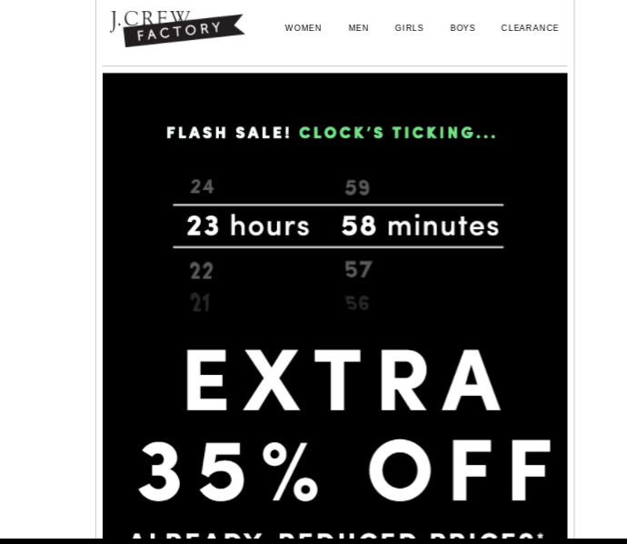 The flash sale email from JCrew