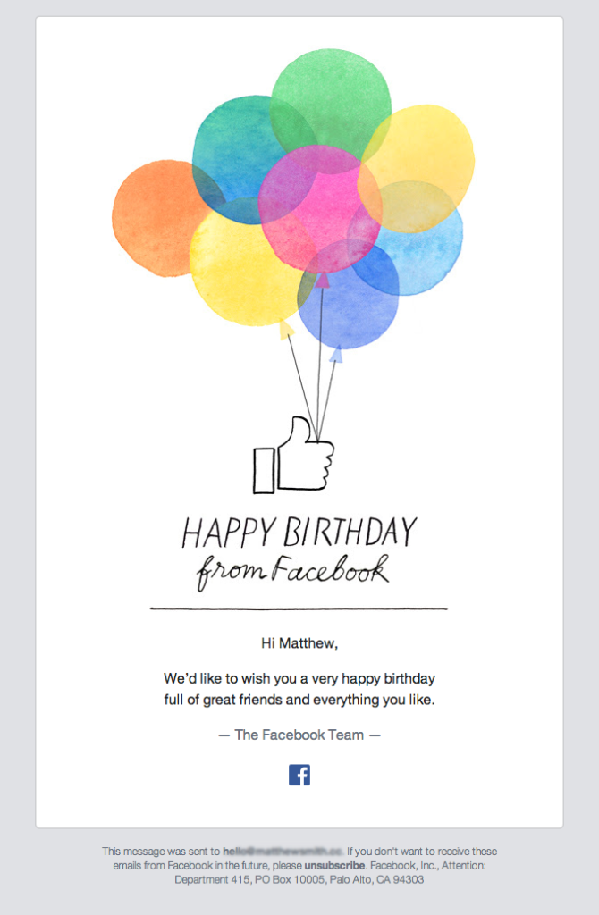 Birthday email Facebook