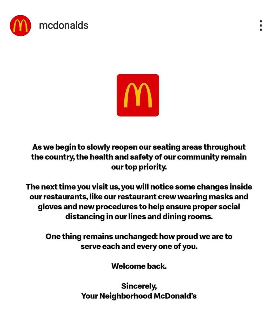 mcdonald's safety measures covid campaign
