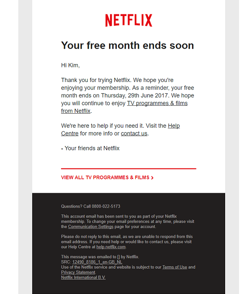 The Netflix transactional email