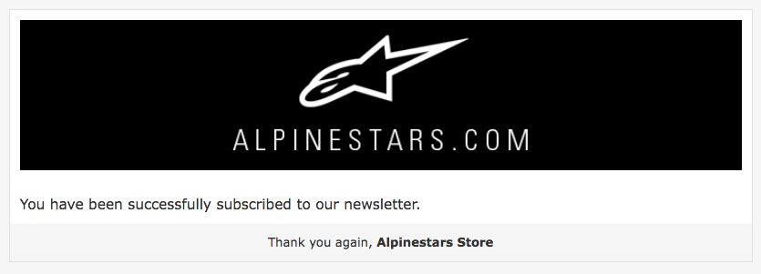 The Alpinestars email