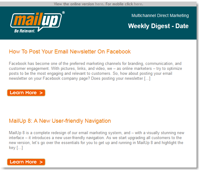 How To Create An Email Newsletter From Your Blog's RSS Feed