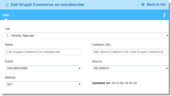 Unsubscribe webhook in MailUp