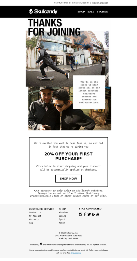 Skullcandy welcome email