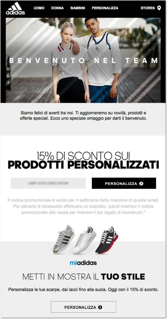adidas welcome email 1