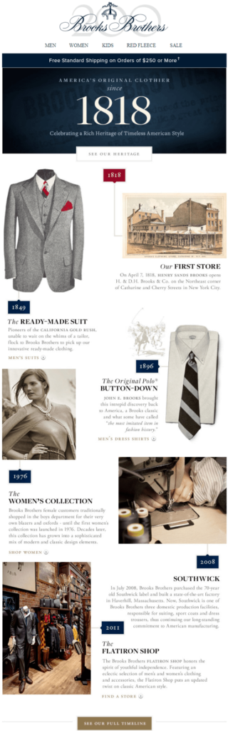 brooks brothers storytelling for company anniversary example
