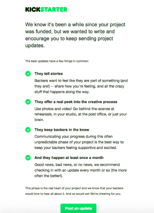 The Kickstarter email