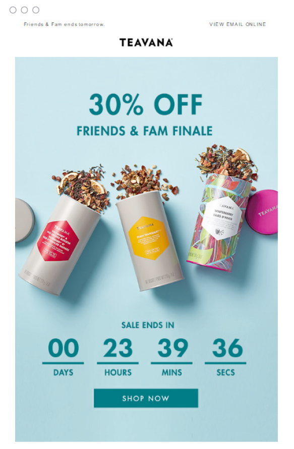 The countdown added in Teavana email