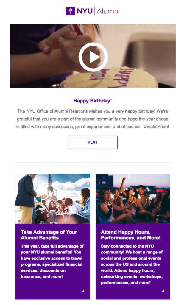 Birthday email NYU