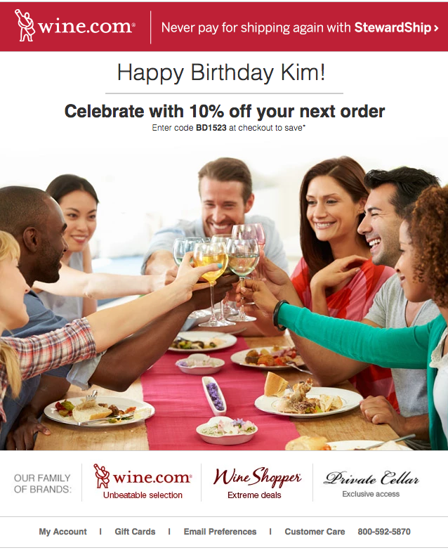 Birthday email personalization