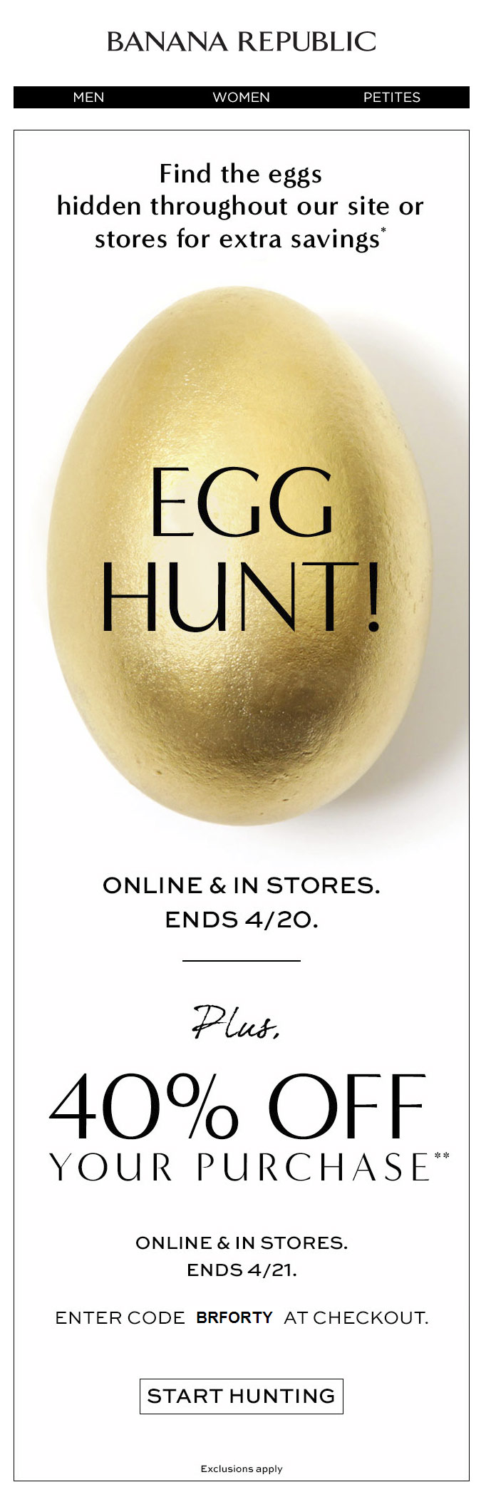 Banana Republic easter emails