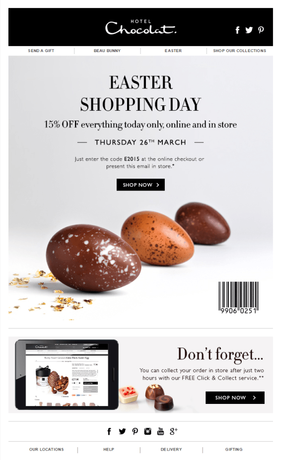 Easter email coupon