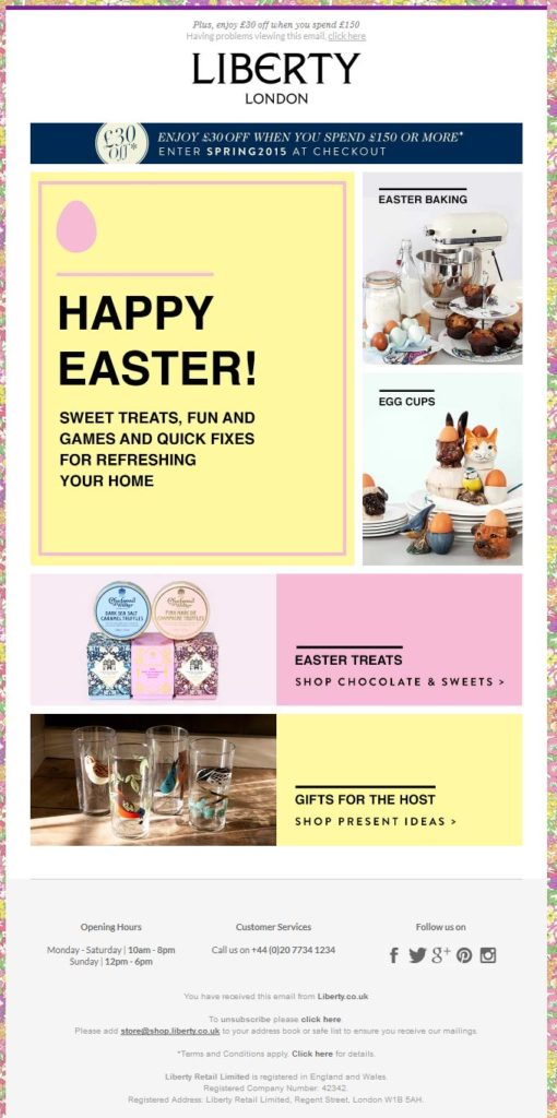 4 ideas to revamp your easter emails mailup blog e commerce websites can tailor their offers to the needs of the moment for example proposing everything necessary for easter dinner like liberty london negle Images