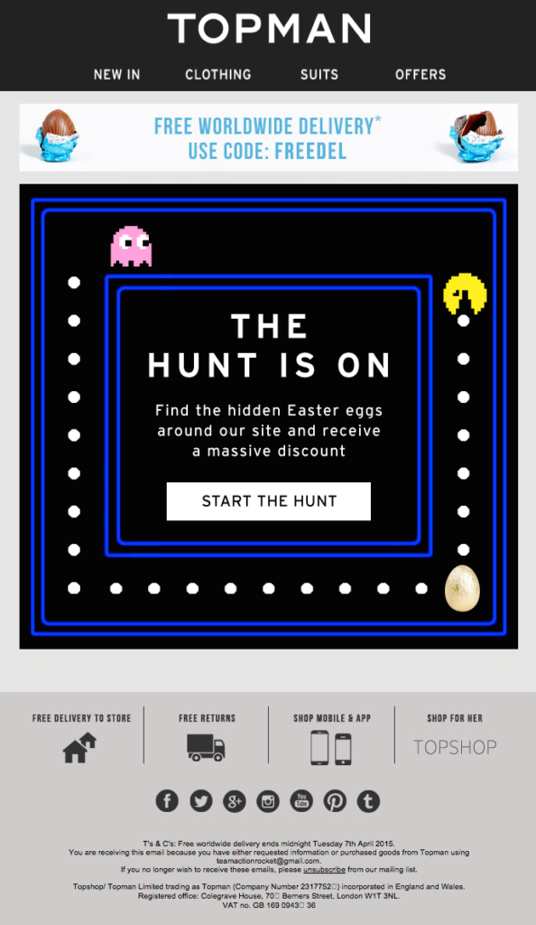 Easter emails Topman