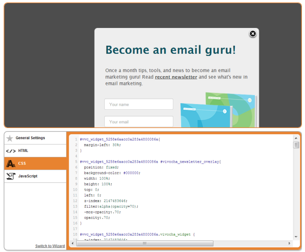 Style the newsletter signup modal window with CSS