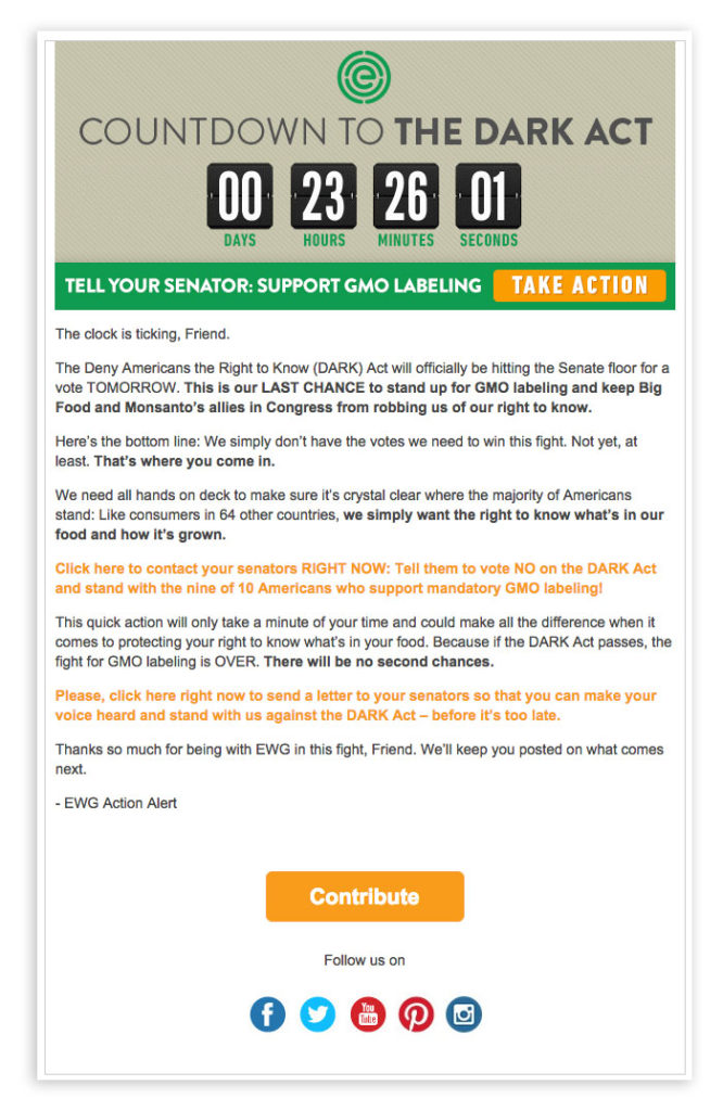 EWG countdown timer email