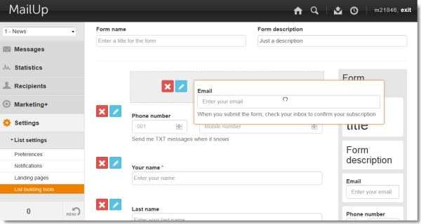 Form buider example: drag and drop an email field into a sign-up form