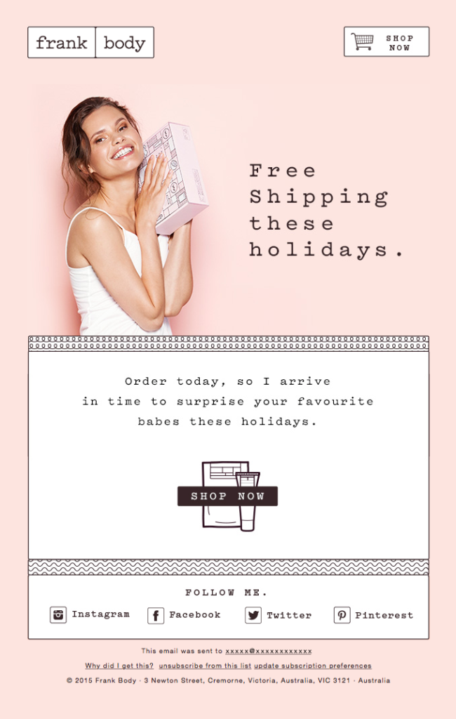 example free shipping for christmas