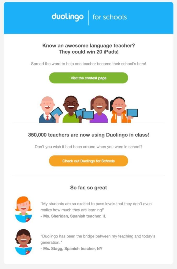 Duolingo review in emails example