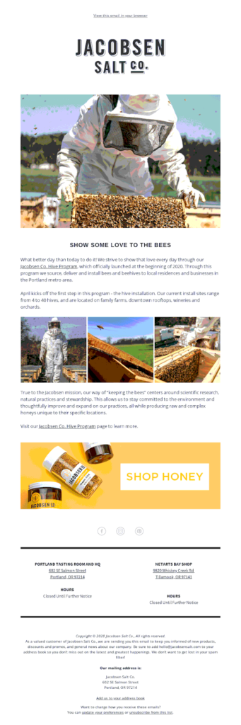 jacobsen salt mission of the brand email