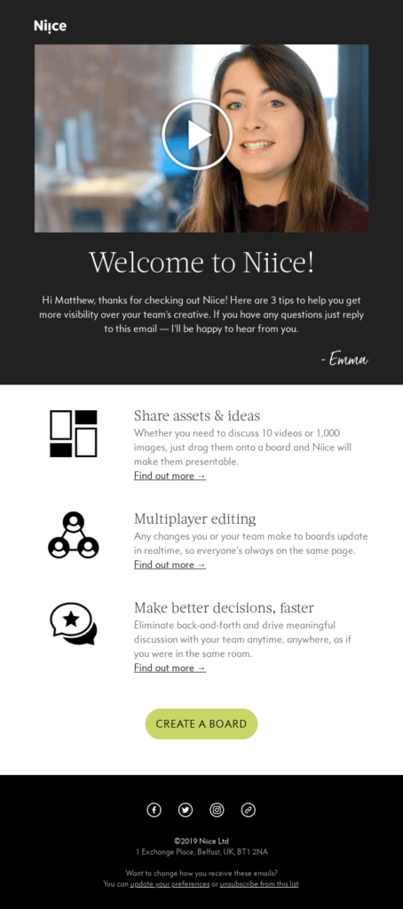 Saas industry welcome email example