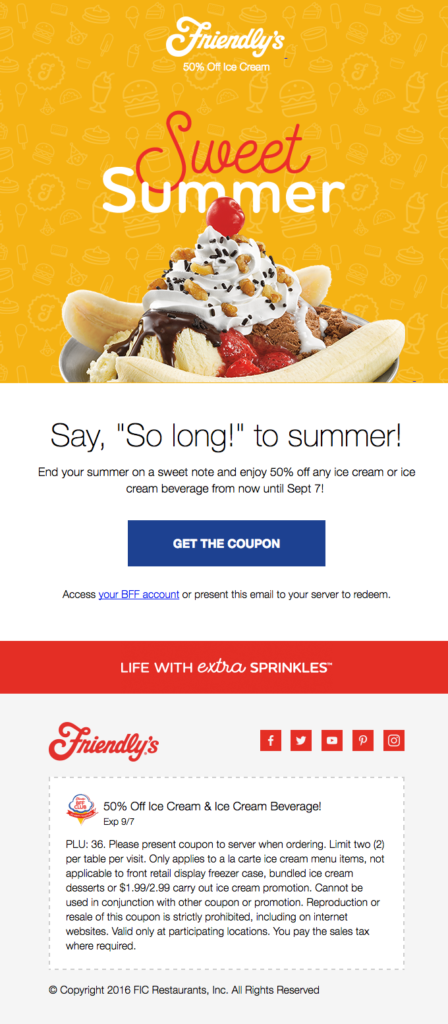 Friendly's summer email example