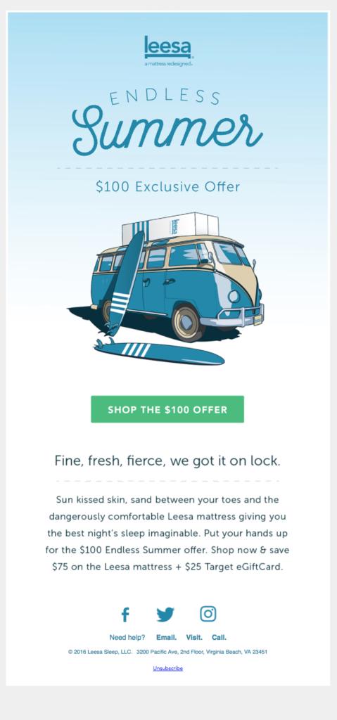 Leesa summer email example