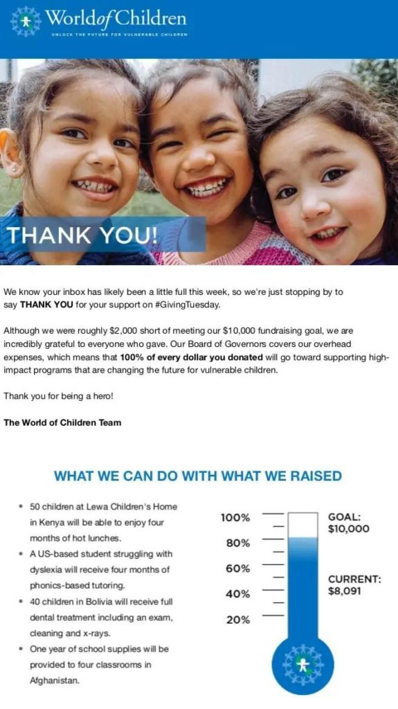 Nonprofit confirmation email example
