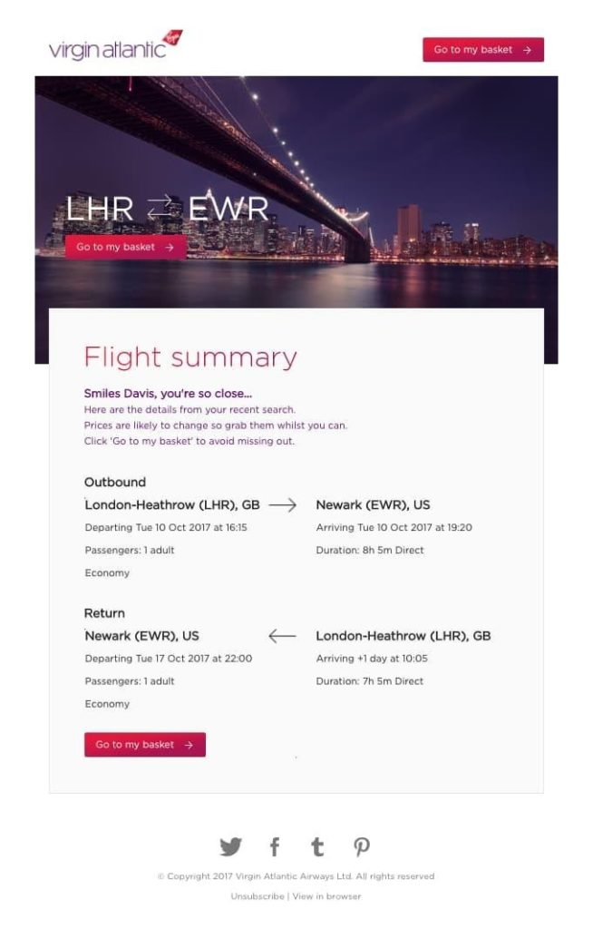 travel industry abandoned cart email example