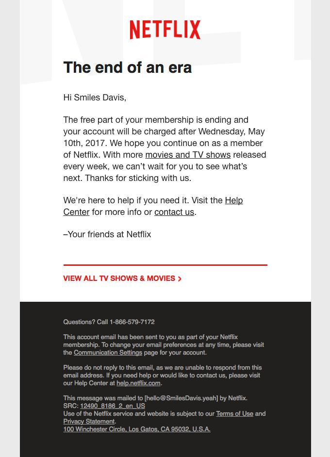 Netflix wimback email