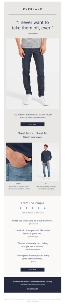 Everlane review in emails example