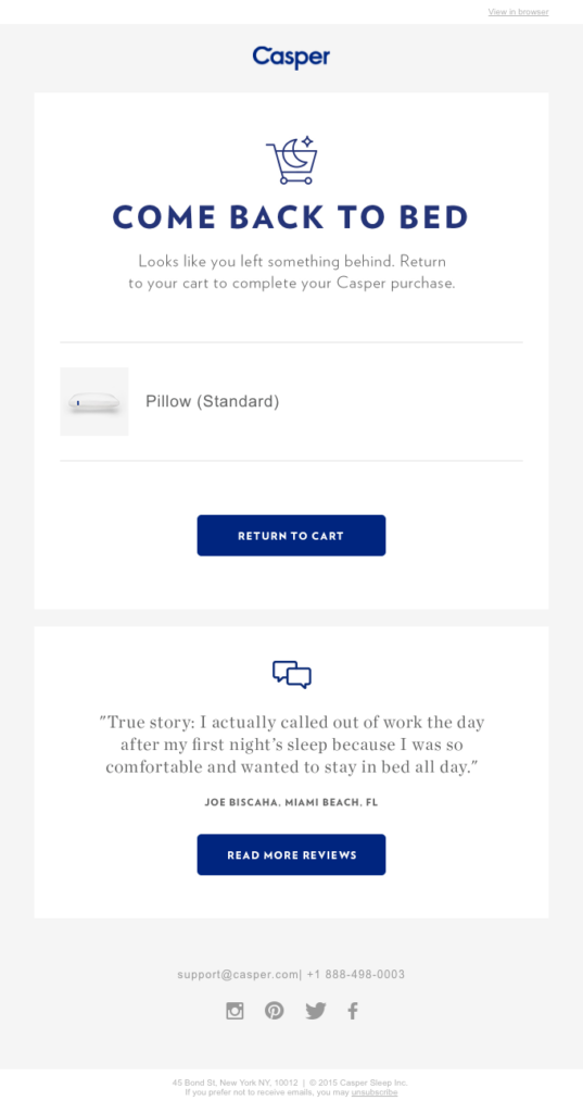 Casper review in emails example