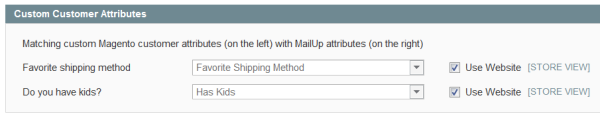Map Magento Customer Attributes into MailUp Custom Fields