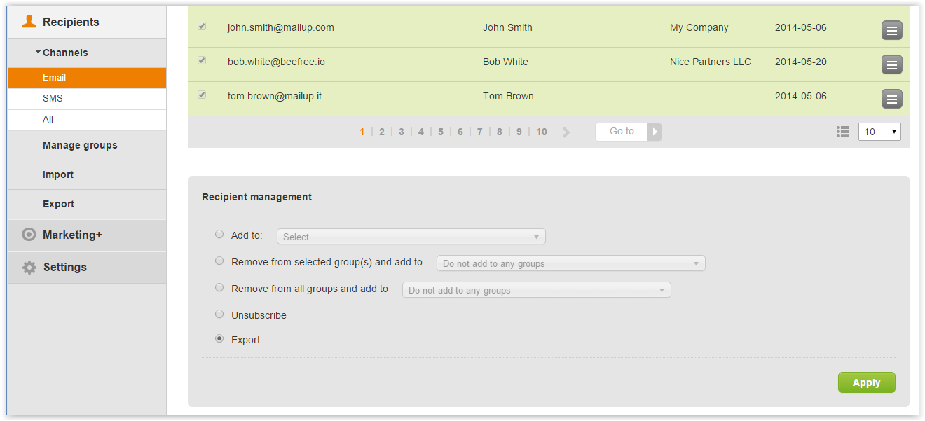Export email recipients from an advanced search