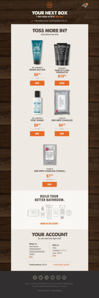 The Dollar Shave Club transactional email