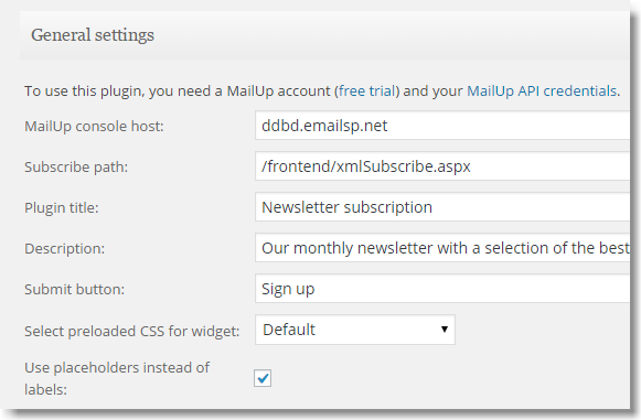 Placeholder setting in the Mailup plugin for WordPress