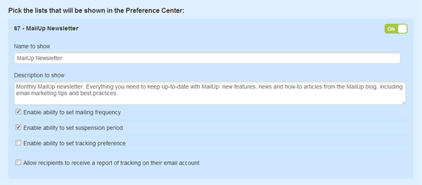 Preference Center list settings