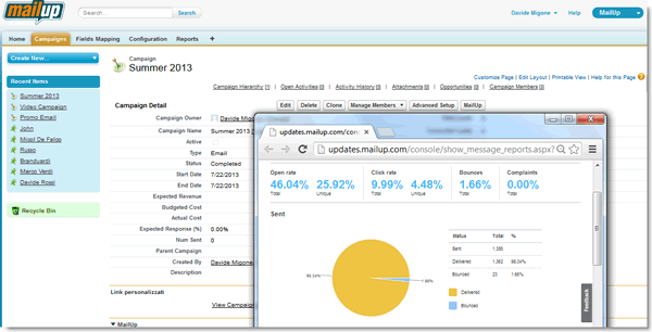 Campaign statistcs from MailUp right in Salesforce