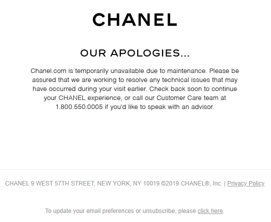 chanel-apology-email-maintenance-issue