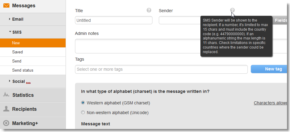 Sender in SMS campaign - MailUp