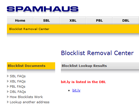 Bit.ly blacklisted by Spamhaus